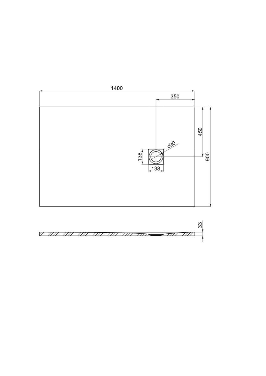 Brodzik kompozytowy 140x90x3,3 cm Roca Ignis rysunek techniczny