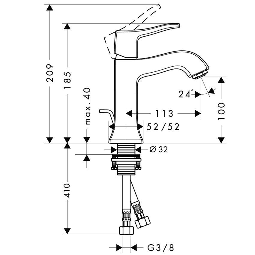 Jednouchwytowa bateria umywalkowa 100  Hansgrohe Metris Classic rysunek techniczny
