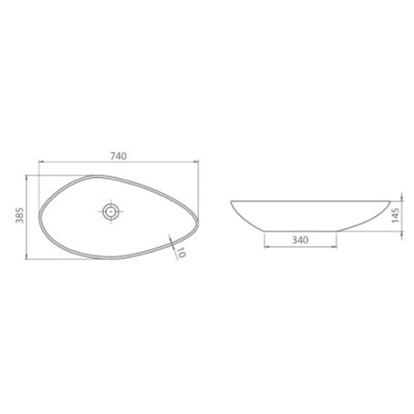 Umywalka CeraStyle Olive 071300-u rysunek techniczny