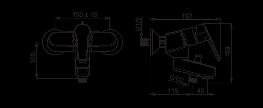 Bateria wannowo-prysznicowa Oras Saga rysunek techniczny