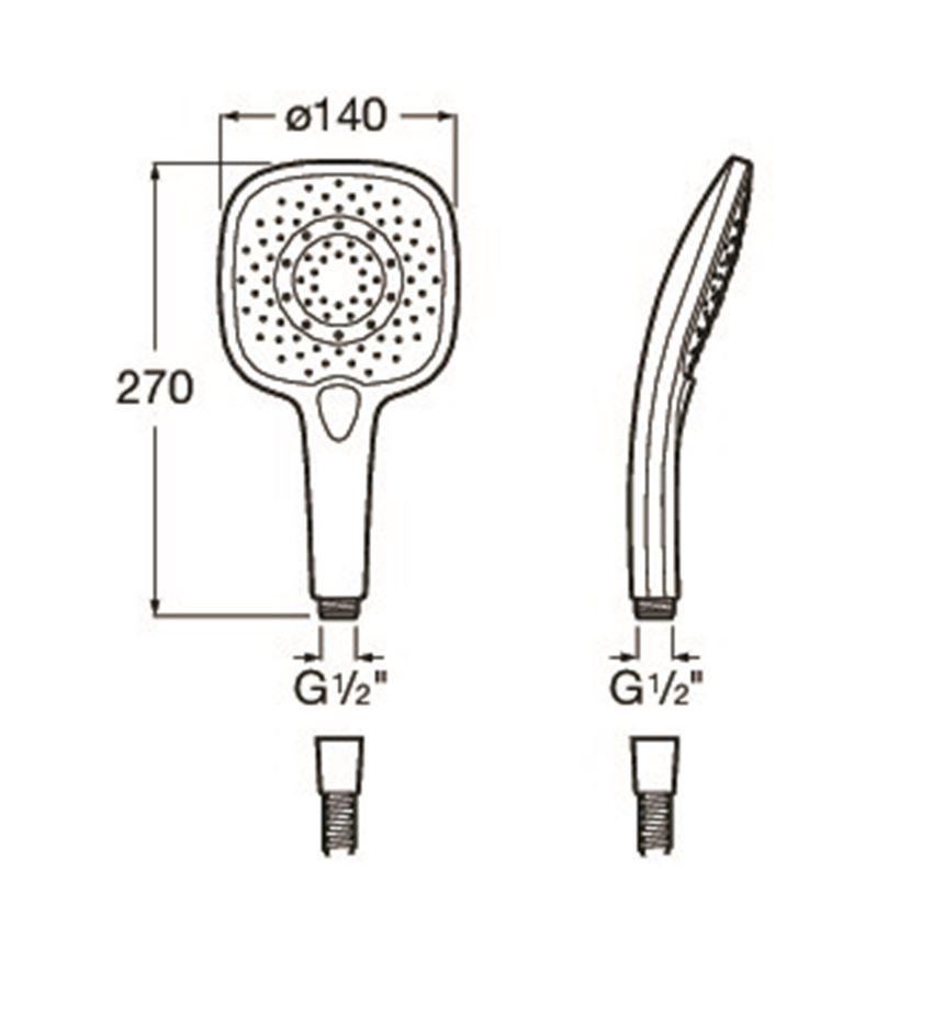 Słuchawka prysznicowa 140/3 chrom/biały Roca Plenum rysunek techniczny