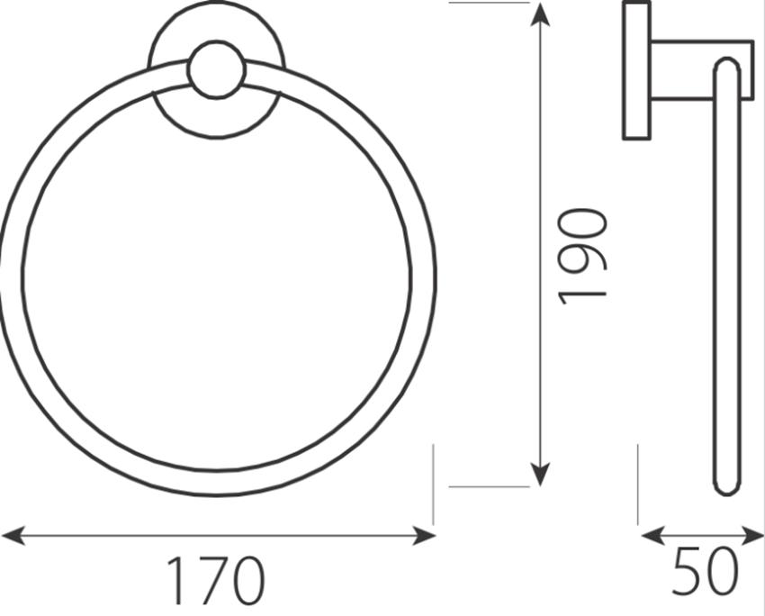 Wieszak na ręcznik okrągły FDesign Meriva rysunek
