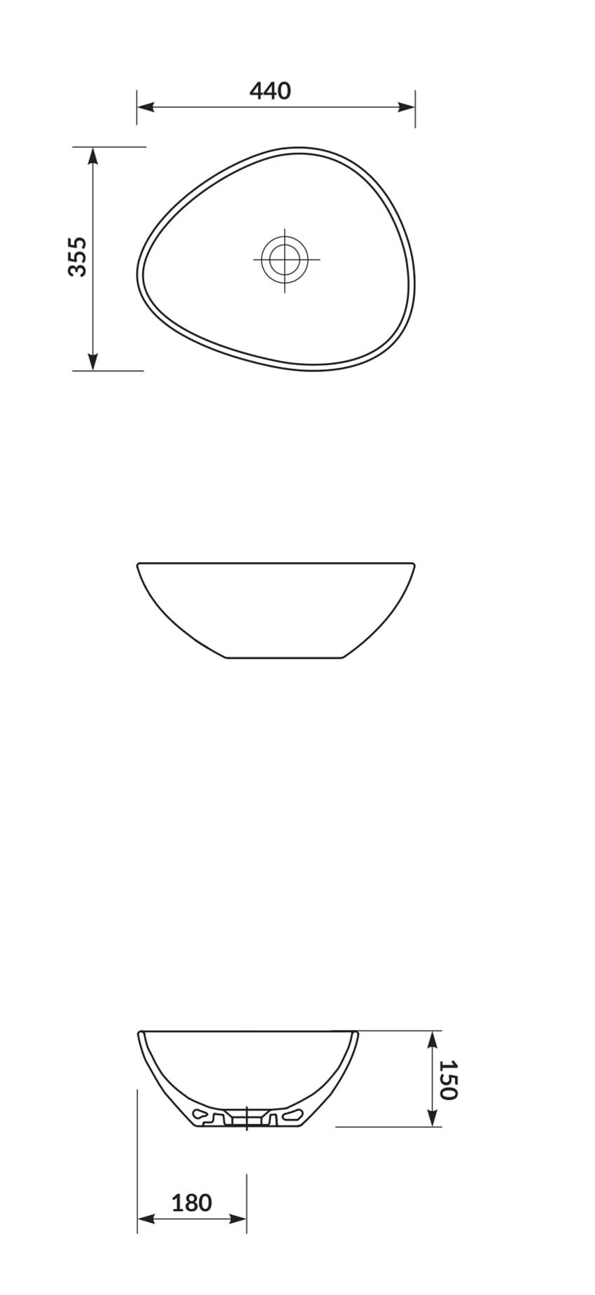 Umywalka nablatowa 40 cm Cersanit Moduo rysunek