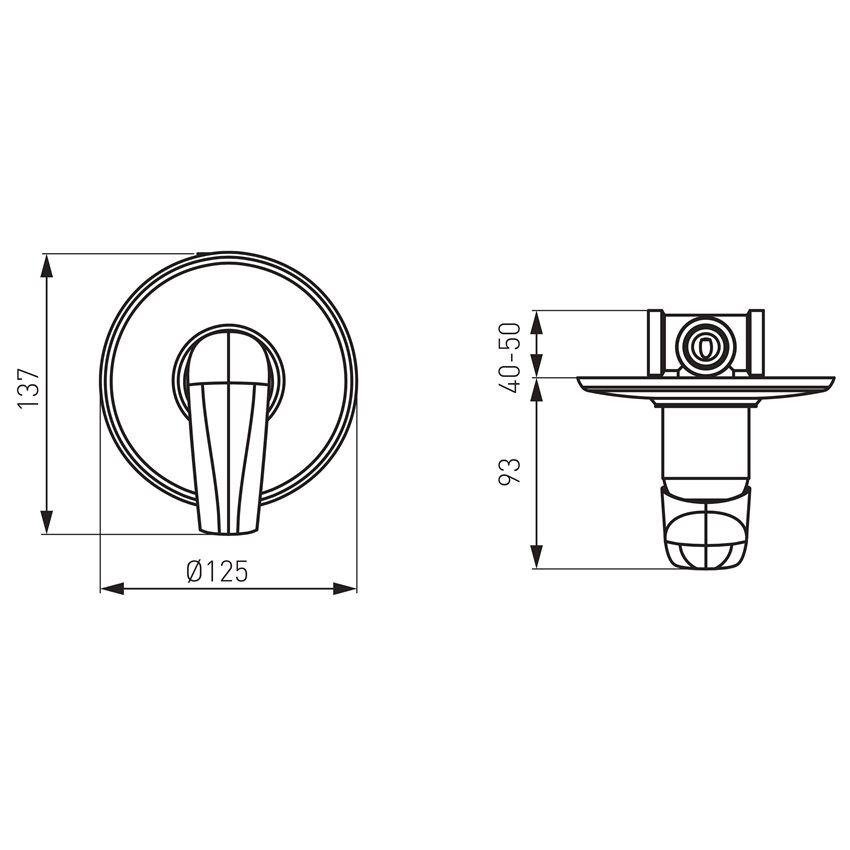 Bateria natryskowa podtynkowa Ferro Metalia 57 rysunek techniczny