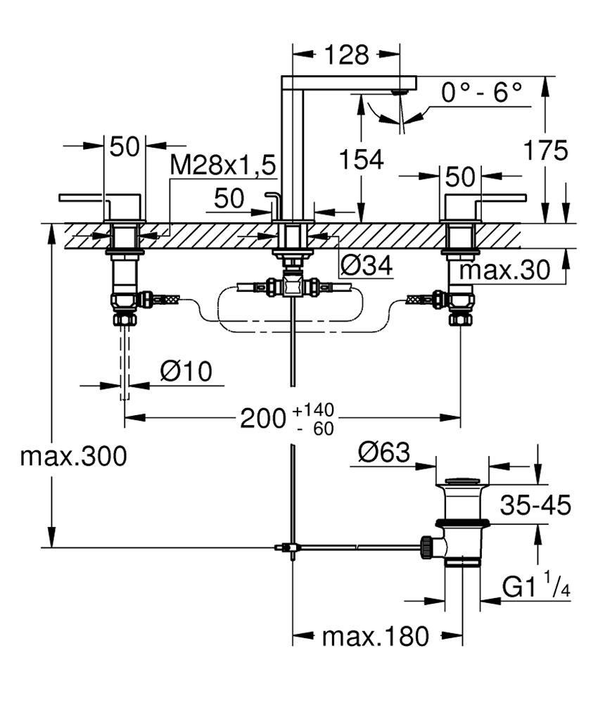 Dwuuchwytowa bateria umywalkowa rozmiar M Grohe Plus rysunek techniczny