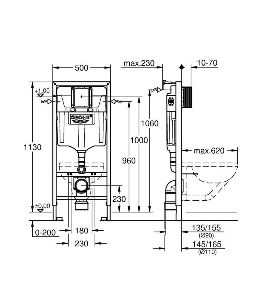 Stelaż do WC ściennego ze spłuczką i wspornikiem Grohe Rapid SL rysunek techniczny