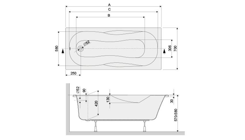 Wanna prostokątna 70x160 cm Sanplast AS rysunek