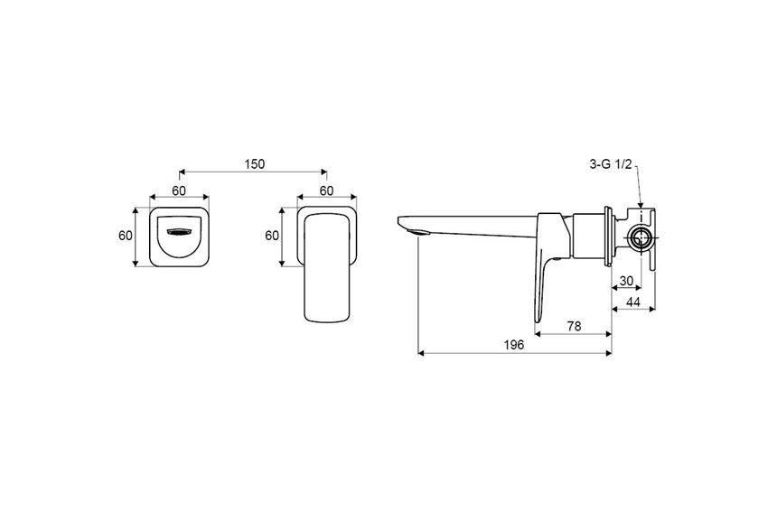 Bateria umywalkowa podtynkowa Excellent Keria Czarna rysunek techniczny