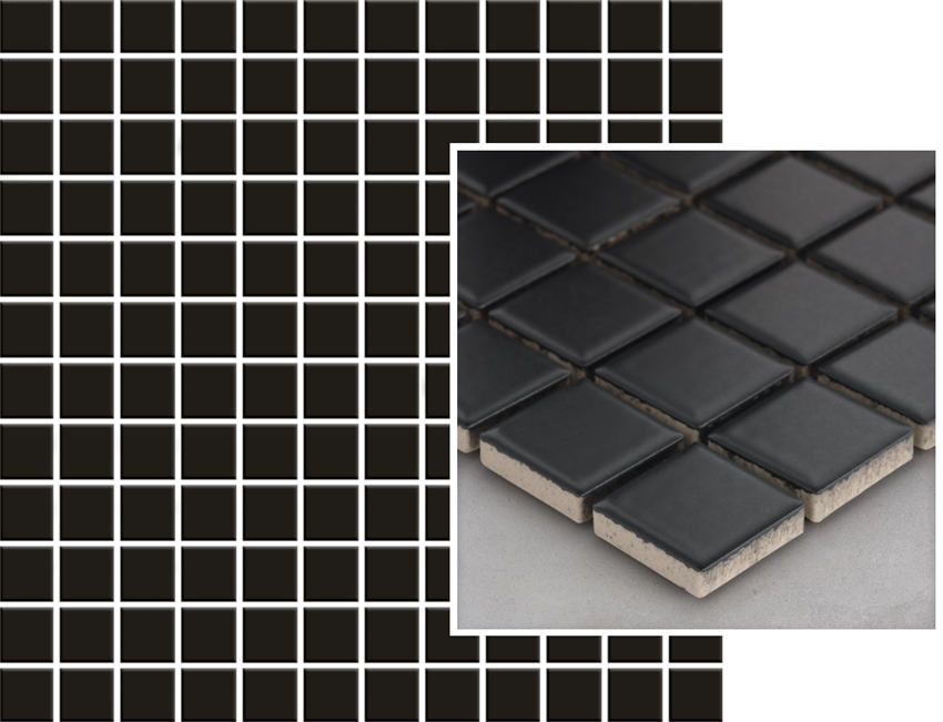 Mozaika 29,8x29,8 cm Paradyż Albir Nero Mozaika Prasowana K.2,3X2,3