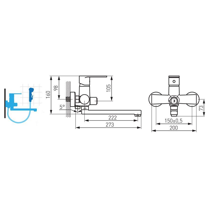 Bateria umywalkowa ścienna z przełącznikiem natrysku Ferro Algeo rysunek techniczny