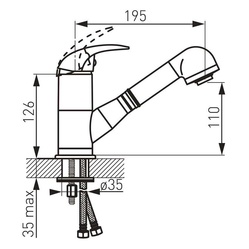 Bateria zlewozmywakowa stojąca z wyciąganym natryskiem Ferro Ancona rysunek techniczny