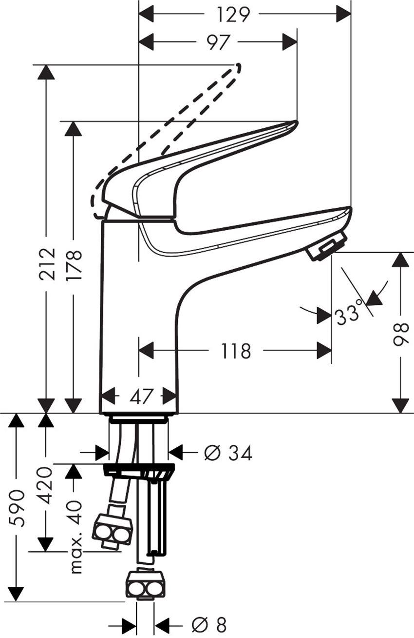 Jednouchwytowa bateria umywalkowa 100 do bezciśnieniowych podgrzewaczy wody Hansgrohe Novus rysunek techniczny