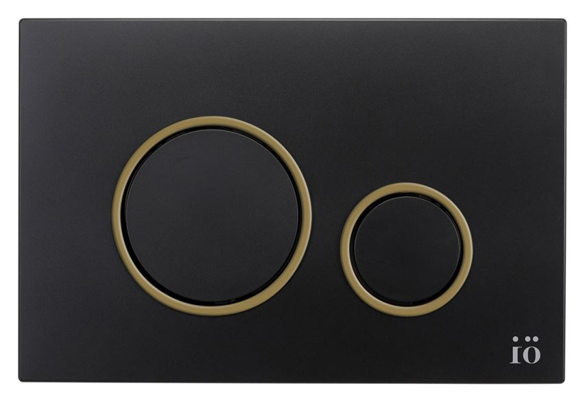 Przycisk spłukujący czarny z ringiem gold IÖ BJORN