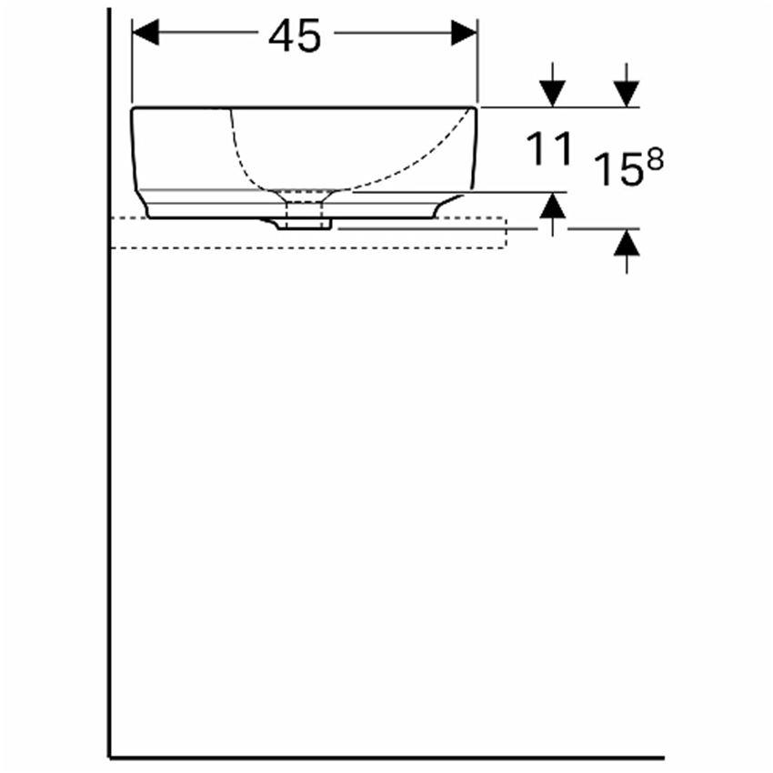 Umywalka stawiana na blat 55x40 cm owalna z otworem i przelewem Koło VariForm rysunek techniczny