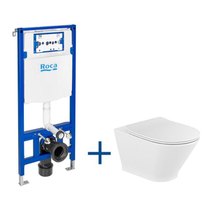 Zestaw podtynkowy Duplo One + miska WC podwieszana Gap Round Rimless z deską Slim Roca Gap