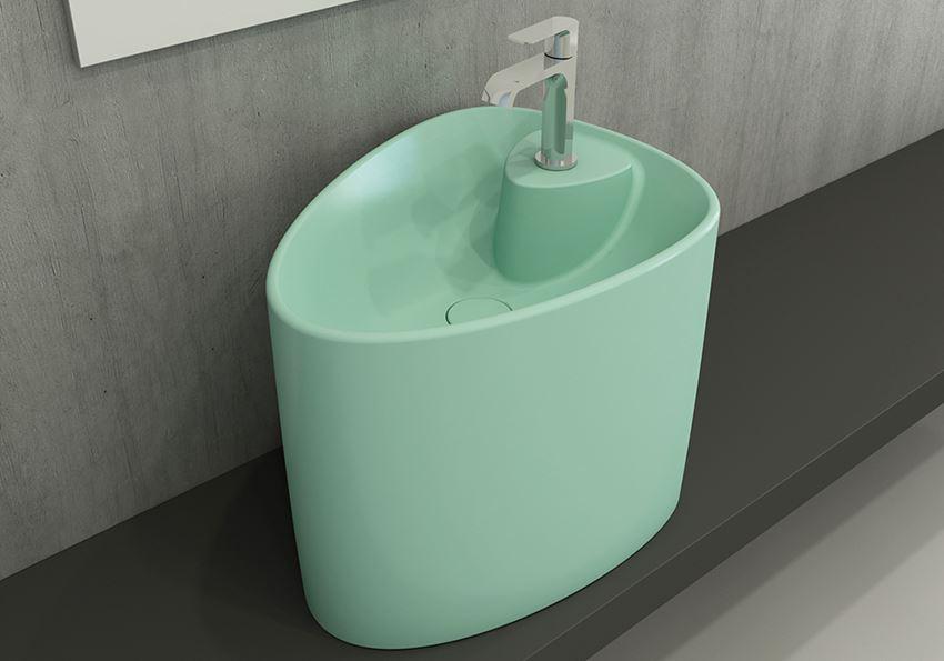 Umywalka nablatowa monoblok Matte Mint Green Bocchi Etna