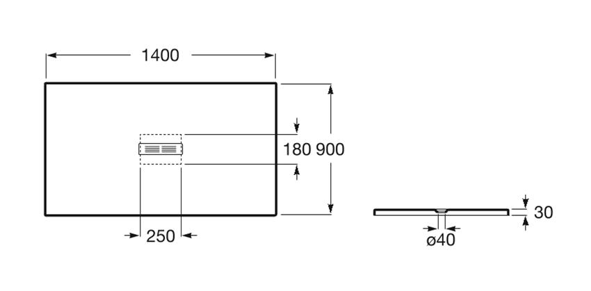 Brodzik prostokątny 140x90x3 cm Roc Helios rys.techniczny