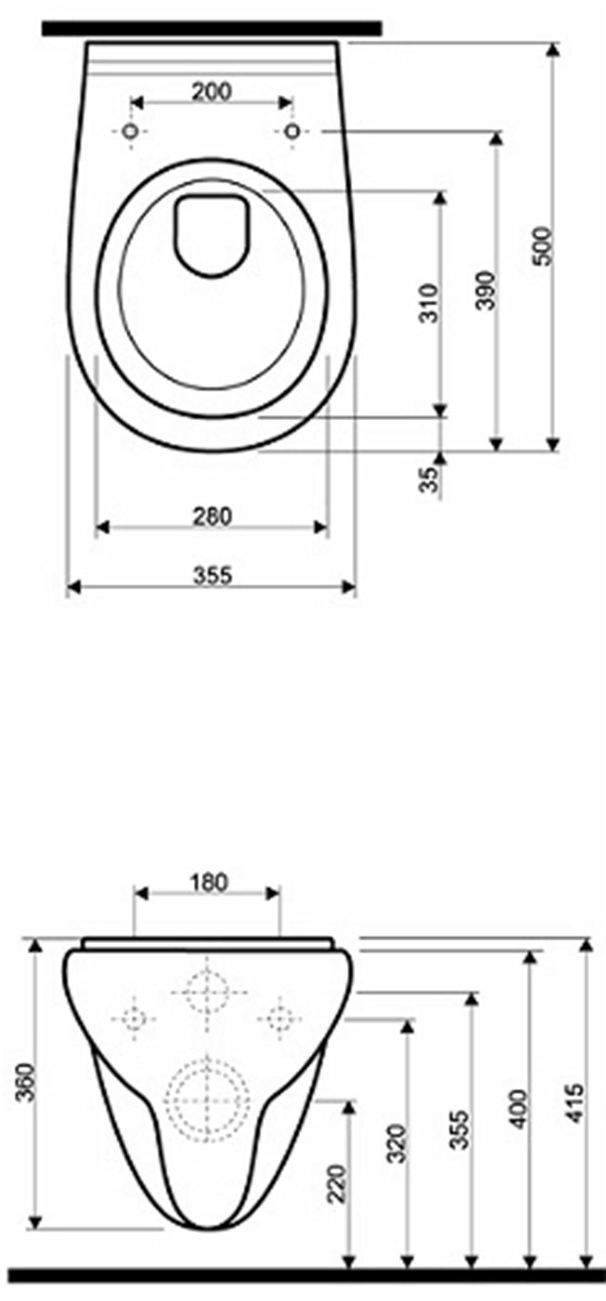 Miska ustępowa lejowa 50 cm Koło Nova Top Pico rysunek techniczny