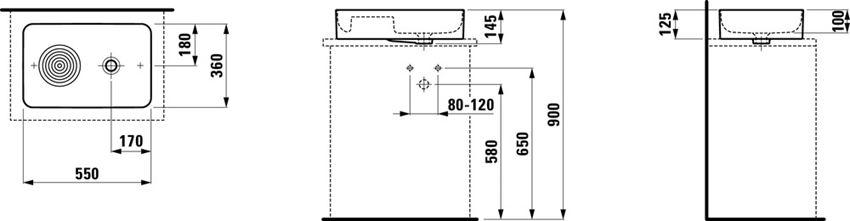 Umywalka nablatowa 55x36x12,5 cm Laufen Val rysunek techniczny