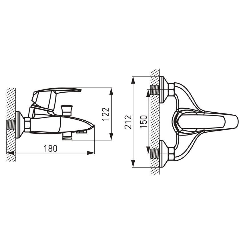 Bateria wannowa ścienna Ferro Metalia 56 rysunek techniczny