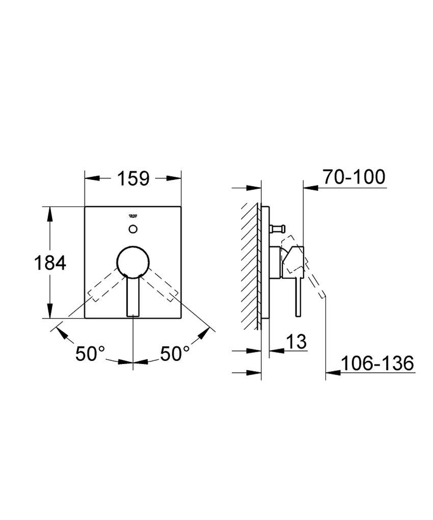 Jednouchwytowa bateria wannowa Grohe Allure rysunek techniczny