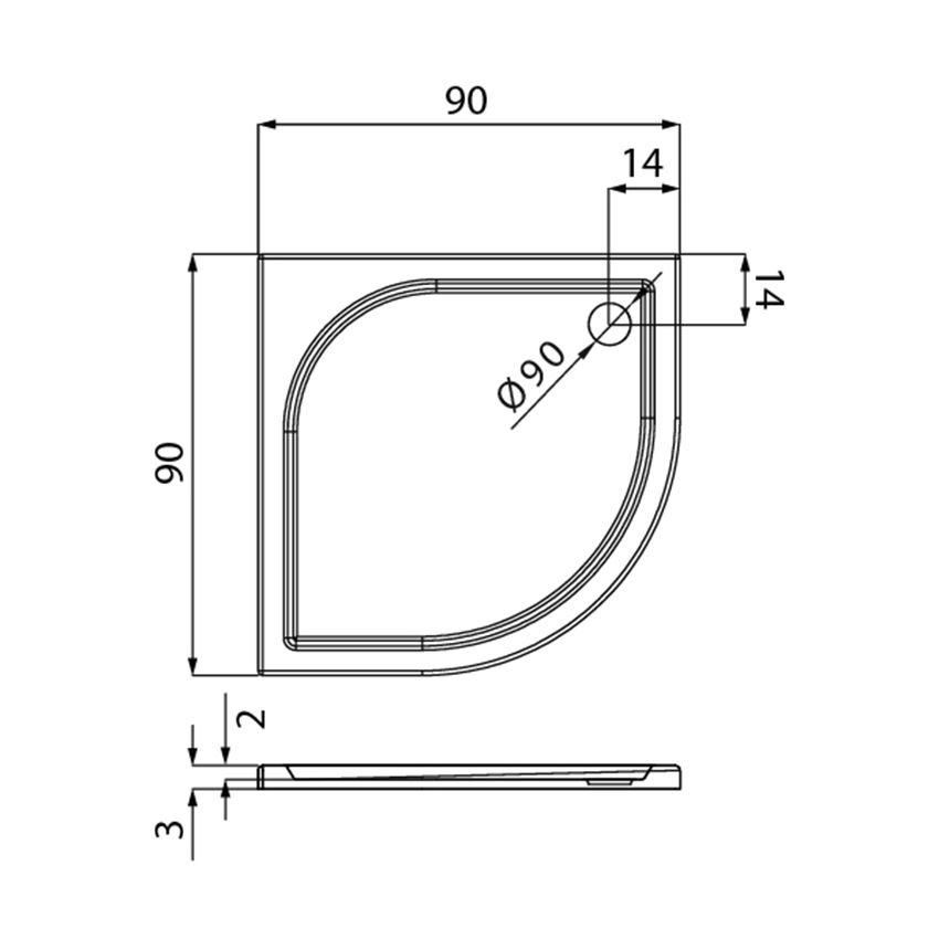 Brodzik półokrągły 90x90x3 cm New Trendy Savos  rysunek techniczny