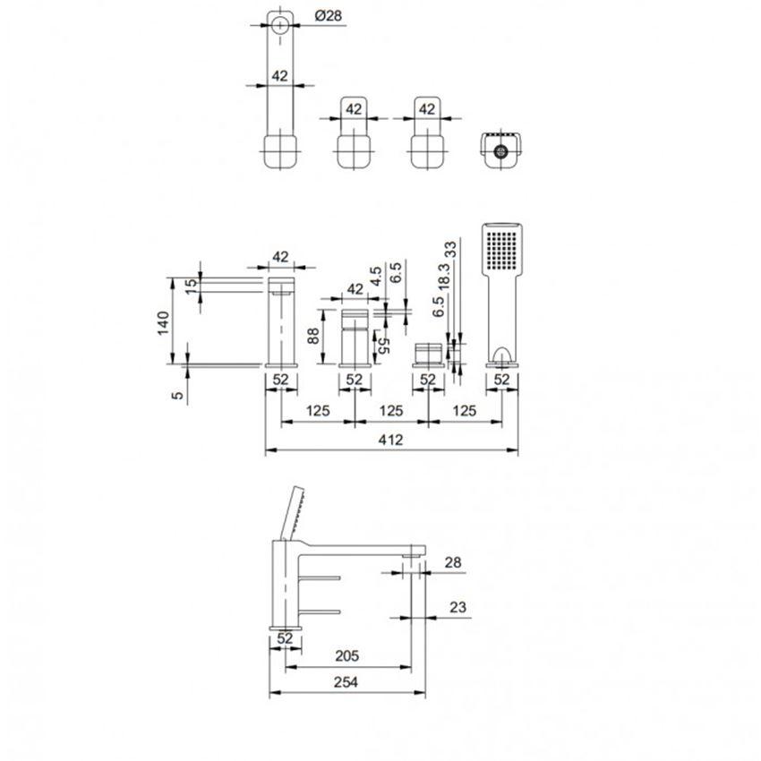 Bateria wannowa 4-otworowa Rysunek techniczny Omnires Slide