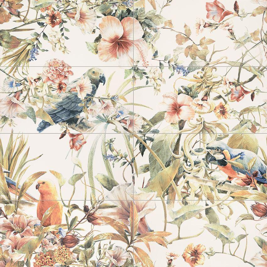 Obraz ścienny 119,8x119,8 cm Tubądzin Modern Pearl Parrots