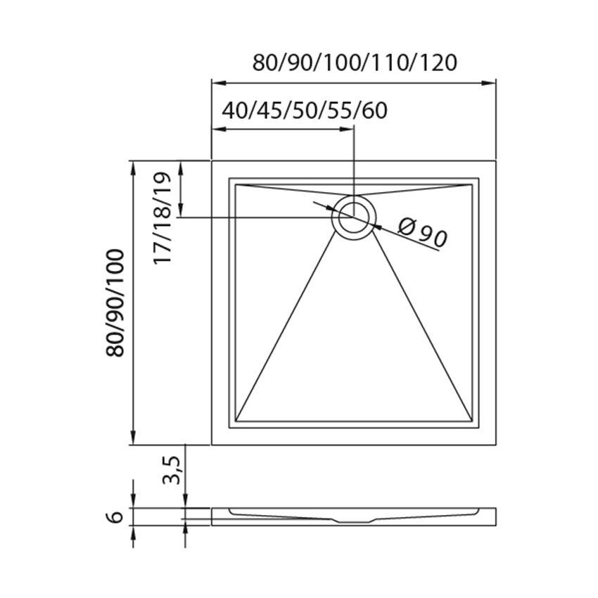 Brodzik kwadratowy posadzkowy New Trendy Cantare rysunek techniczny