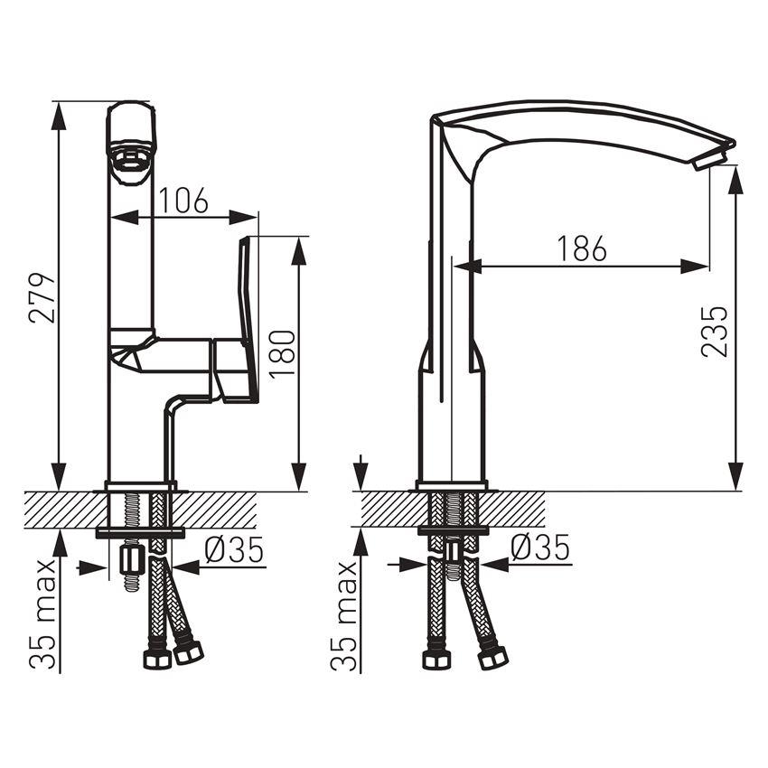 Jednouchwytowa bateria kuchenna Ferro Veneto VerdeLine rysunek