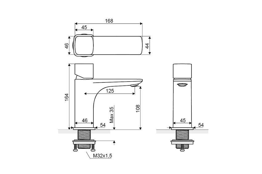 Bateria umywalkowa stojąca z korkiem click-clack Excellent Keria Q rysunek techniczny