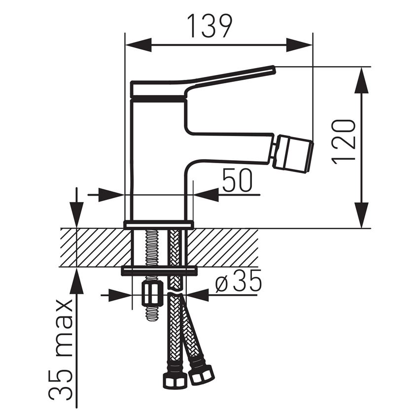 Bateria bidetowa Ferro Stratos rysunek techniczny