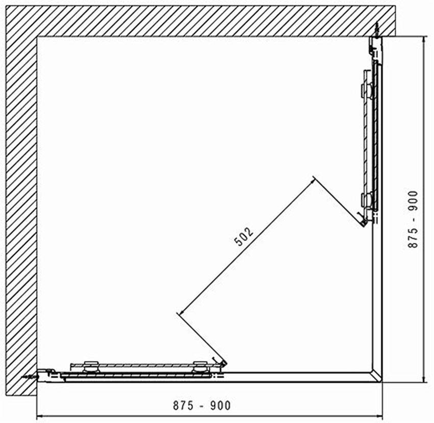 Kabina kwadratowa 90 Koło Geo rysunek techniczny