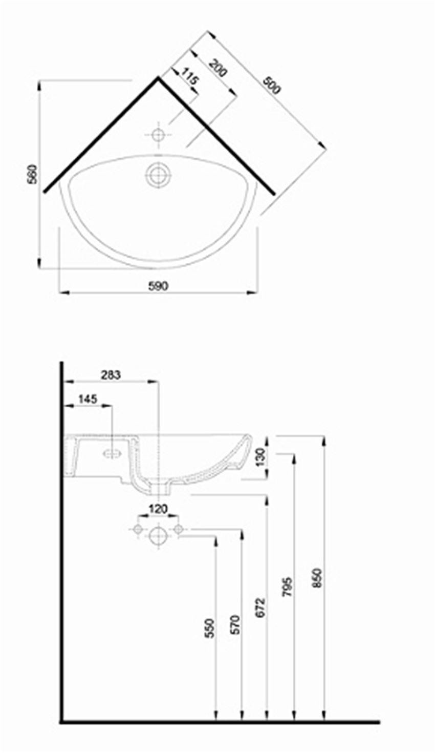 Umywalka narożna 50 cm Koło Nova Pro rysunek techniczny