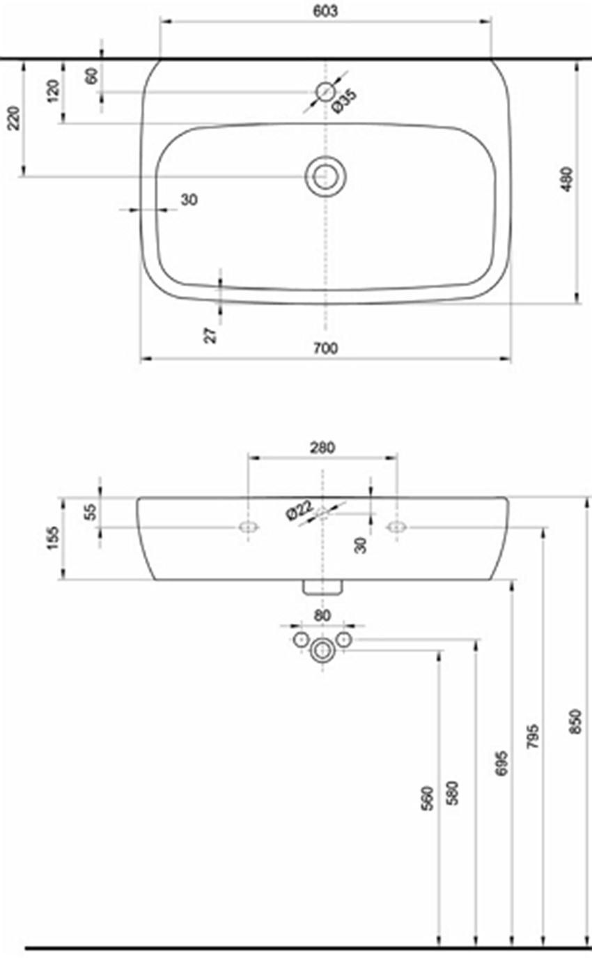 Umywalka 70 cm Koło Style rysunek techniczny