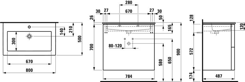 Zestaw umywalka slim z szafką 80 cm Laufen Kartell rysunek techniczny