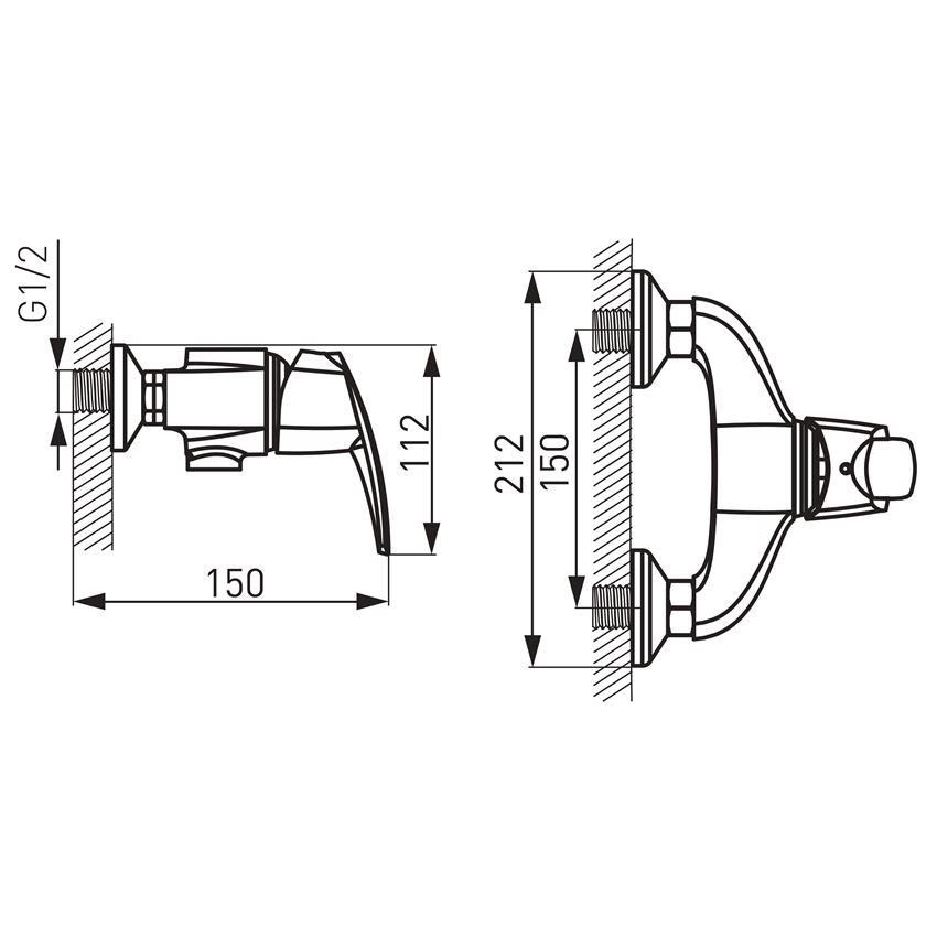 Bateria natryskowa ścienna Ferro Metalia 56 rysunek techniczny