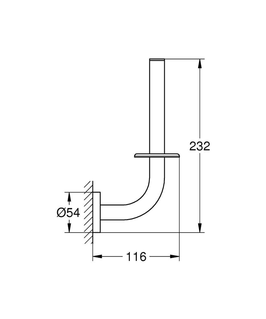 Uchwyt na zapasowy papier toaletowy Grohe Essentials rysunek techniczny
