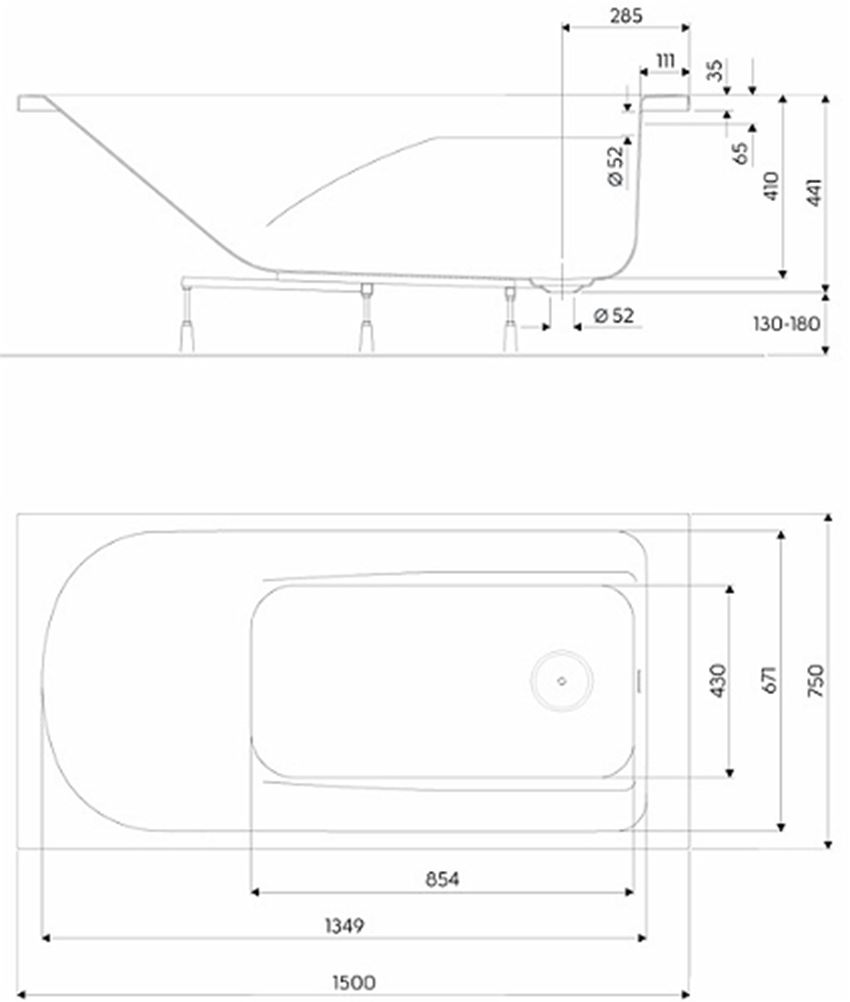 Wanna prostokątna 150x75 cm Koło Comfort Plus  rysunek techniczny