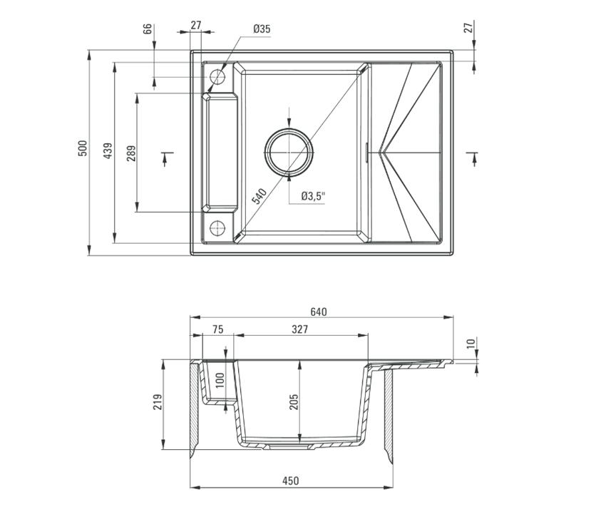 Zlewozmywak granitowy magnetyczny 1-komorowy z ociekaczem Deante Magnetic rysunek