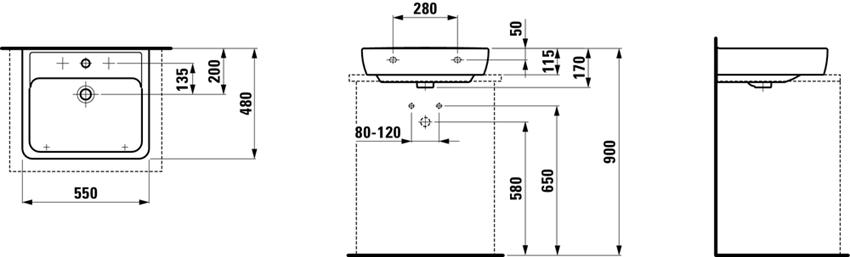 Umywalka ścienna 55 cm Laufen Pro rysunek