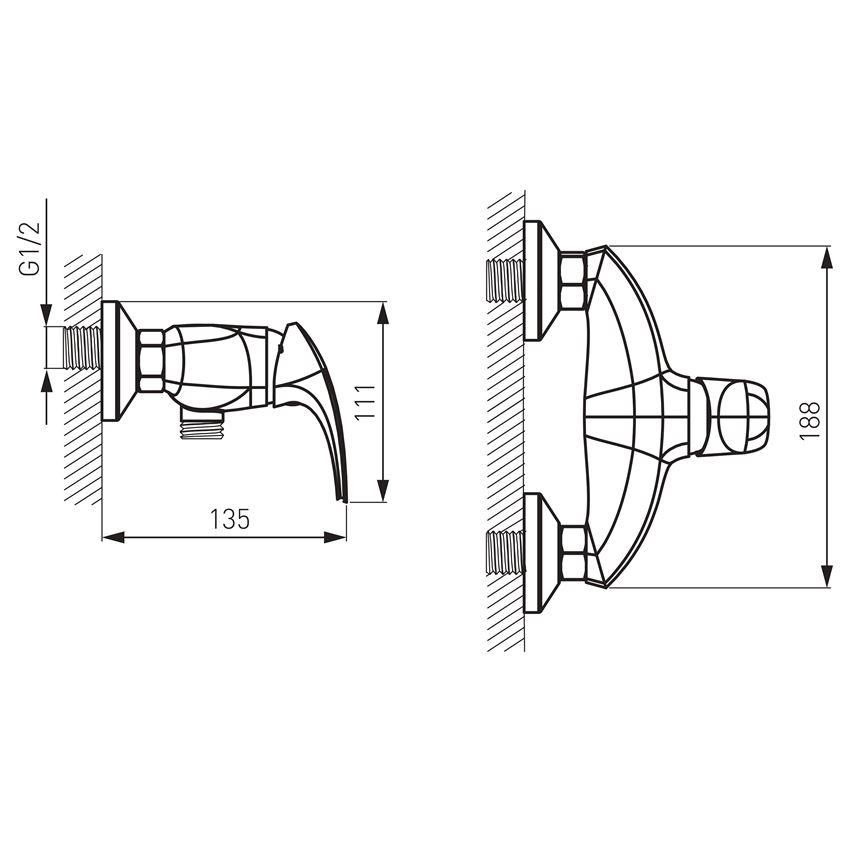 Bateria natryskowa ścienna  Ferro Metalia 57 rysunek techniczny
