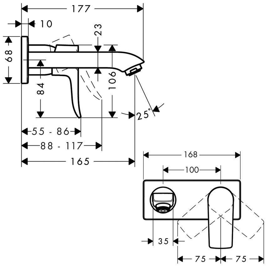 Jednouchwytowa bateria umywalkowa wylewka 16,5 cm element zewnętrzny Hansgrohe Matris rysunek techniczny
