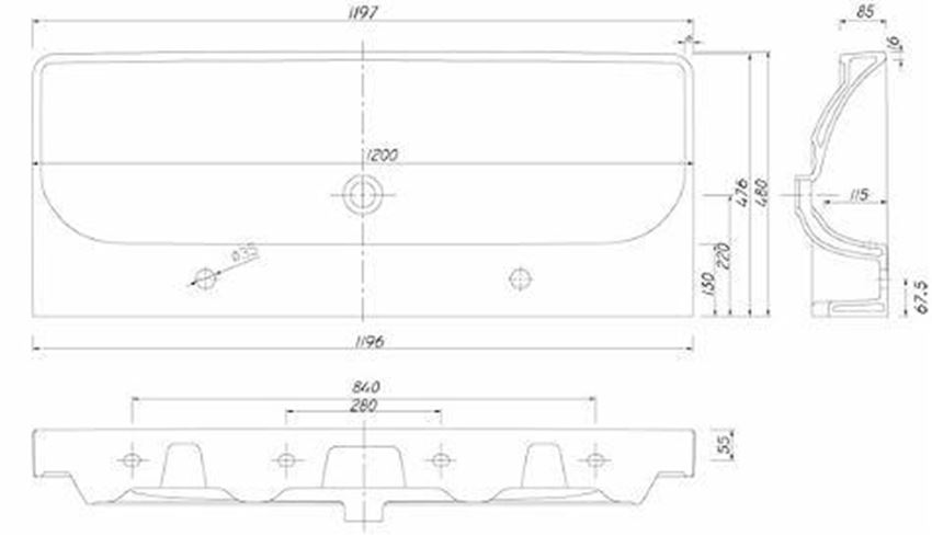 Umywalka meblowa 120 cm Koło Traffic rysunek techniczny