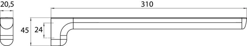 Wieszak łazienkowy jednoramienny 31 cm Emco Trend rysunek techniczny