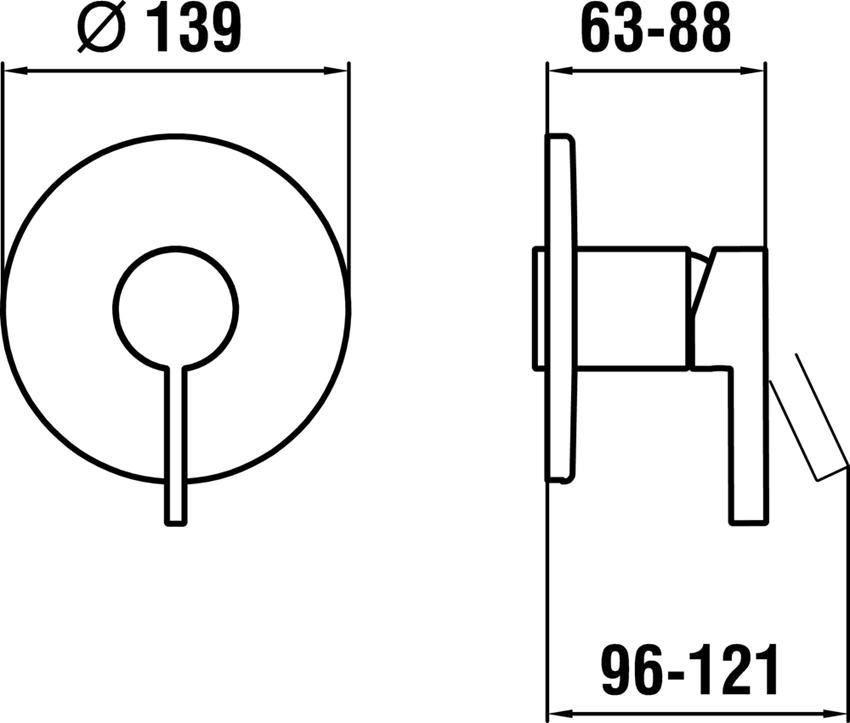 Bateria natryskowa podtynkowa Laufen Kartell rysunek techniczny