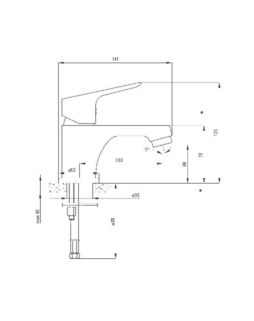 Bateria umywalkowa stojąca z korkiem click-clack z ograniczonym przepływem Deante Chaber rysunek techniczny