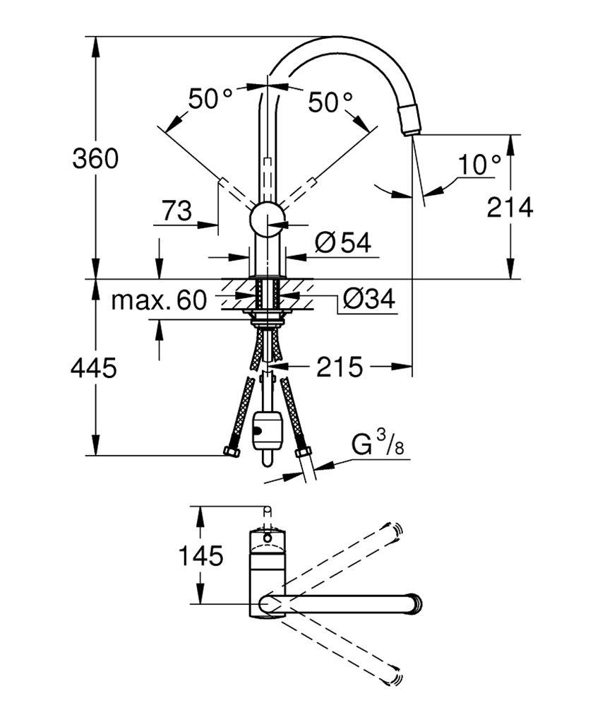 Bateria kuchenna z wyciągną wylewką Grohe Minta rysunek techniczny