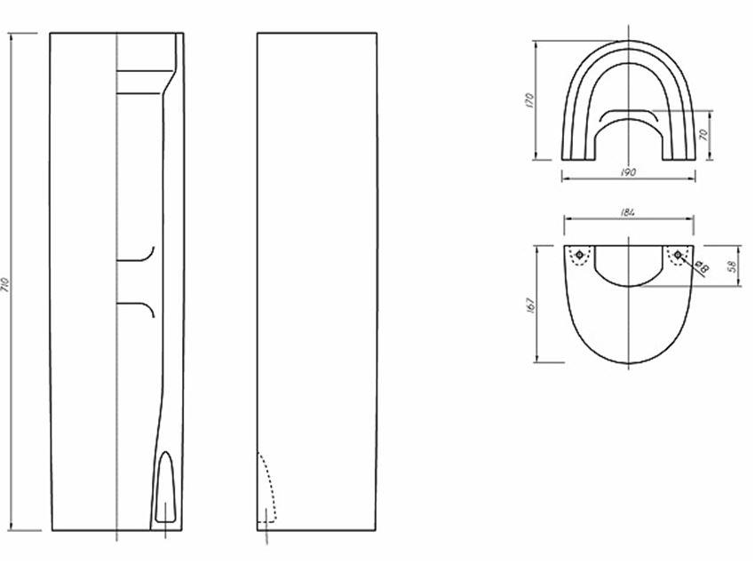 Postument 17x71 cm Koło Nova Pro rysunek techniczny