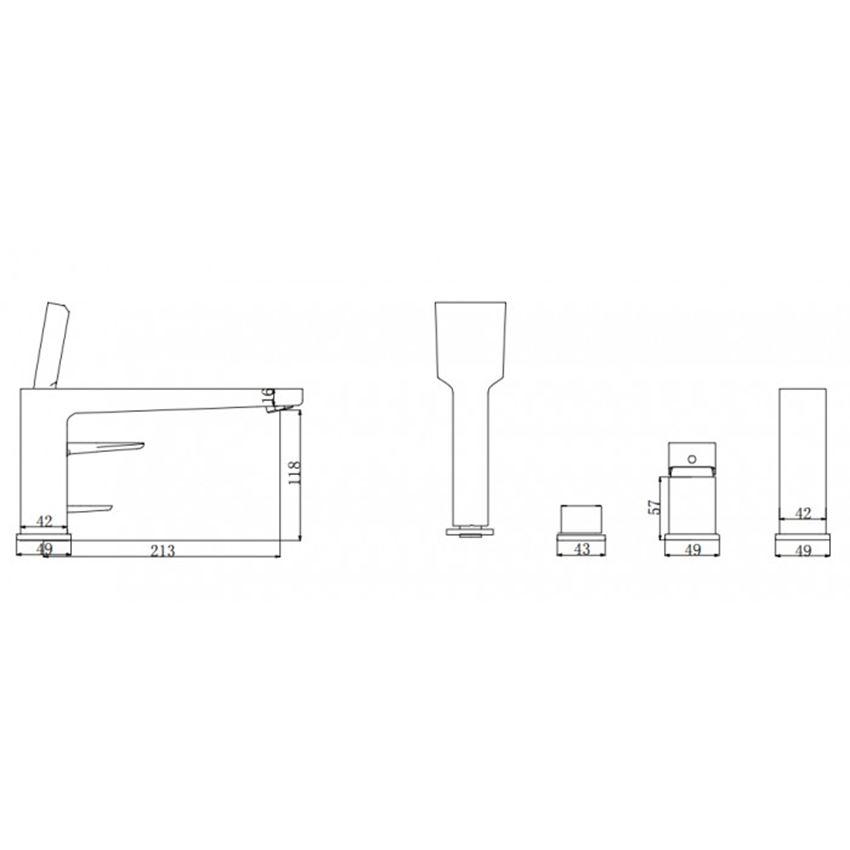 Bateria wannowa 4-otworowa Omnires Siena rysunek techniczny